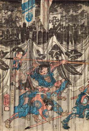 Utagawa Kuniyoshi (1797-1861)Ôban triptych. Title: Fuji no Suso-no Soga kyôdai honmo wo togeru