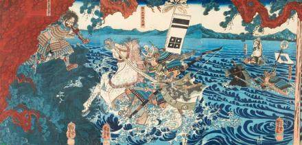 Utagawa Kuniyoshi (1797-1861)Ôban triptych. Title: Ujigawa no kassen. Battle at Ujigawa. Signed: