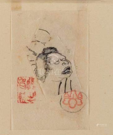 Utagawa Kuniyoshi (1797-1861)Two prepatory drawings in ink on thin paper. a) 11.8 x 7.5 cm. Woman'