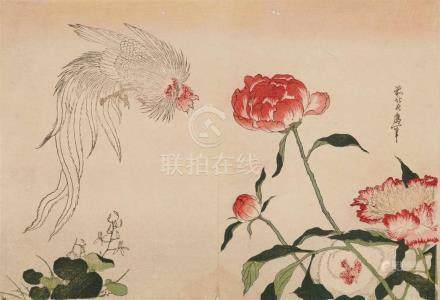 Katsushika Taito II (act. 1810-1853)Ôban yoko-e. From a series of flowers and birds. A white rooster