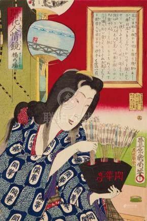 Toyohara Kunichika (1835-1900)Ôban. Series: Kaika ninjô kagami. No. 19. Woman with arrows. Signed: