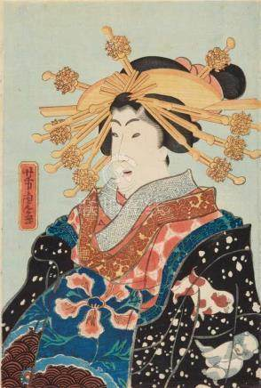 Utagawa Yoshitora (1836-1882)Two ôban, kakemono-e. A courtesan wearing a kimono decorated with