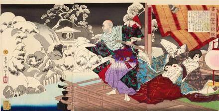 Tsukioka Yoshitoshi (1839-1892)Ôban triptch. Series: Shinyo Rokkaisen. Title: Taira shokoku Kiyomori