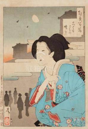 Tsukioka Yoshitoshi (1839-1892)Three ôban from the series Tsuki hyakushi, published by Akiyama
