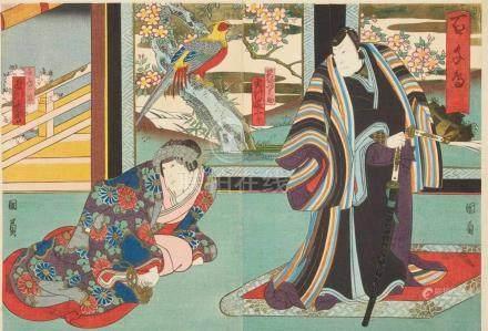 Utagawa Yoshitaki (1841-1899), Utagawa Kunikazu (act. around 1848-1868) et al.a) Two chûban. Theater
