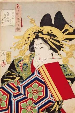 Tsukioka Yoshitoshi (1839-1892)Ôban. Series: Fûzoku sanjûni sô. Title: Shinayakasô Tenpô nenkan