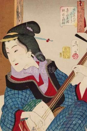Tsukioka Yoshitoshi (1839-1892)Ôban. Series: Fûzoku sanjûni sô. Title: Tanoshindeisô, Kaei nenkan