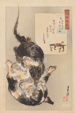 Ogata Gekkô (1859-1920)Two ôban. a) Series: Gekkô zuihitsu. Rat and cat in Jôryûji Temple. Signed: