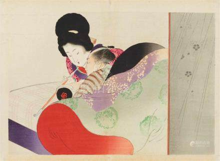 Tomioka Eisen (1864-1905) and Kaburagi Kiyokata (1878-1973)Three kuchi-e. a) Woman and a drunk or
