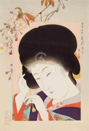 Yamamoto Shôun (1870-1965)Ôban. Series: Ima sugata. Title: Hana no sato. The village of flowers.