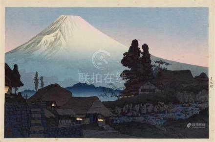 Takahashi Hiroaki (Shôtei) (1871-1944)Ôban-yokoe. Title: Mizukubo. Fuji seen from Mizukubo. Seal: