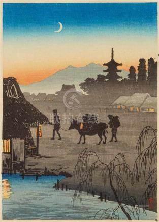 Takahashi Hiroaki (Shôtei) (1871-1944)Chûban. Kison, return to the village in the evening. Seal: