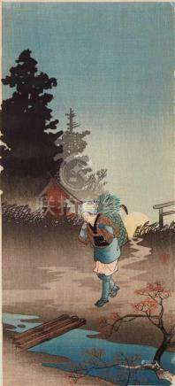 Takahashi Hiroaki (Shôtei) (1871-1944)Mitsugiriban. Peasant woman at moon rise. Seal: Shôtei. Around