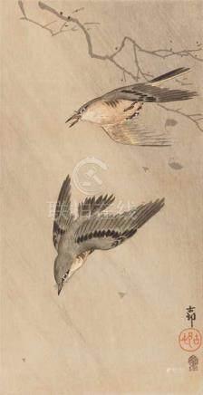 Ohara Koson (1877-1945) and Kobayashi Kiyochika (1847-1915)a) Ô-tanzaku. Two songbirds in the