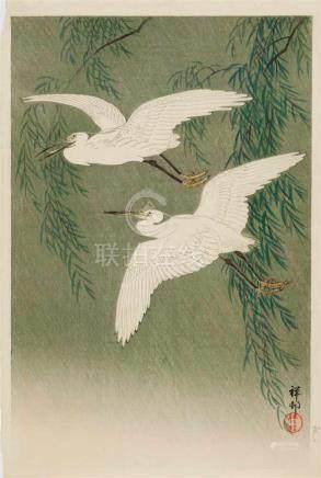 Ohara Shôson (1877-1945)Ôban. White herons and willow. Signed: Shôson. Seal: Shôson. Published by