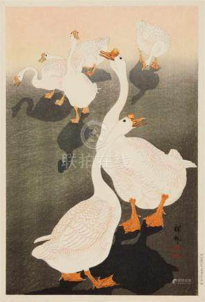 Ohara Shôson (1877-1945)Ôban. Six geese. Signature: Shôson. Seal: Shôson. Published by Watanabe