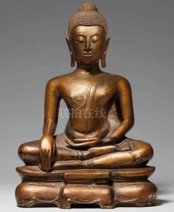 Buddha Shakyamuni. Gelbliche Bronze. Thailand, Ayutthaya-Stil 17. Jh. oder späterIm