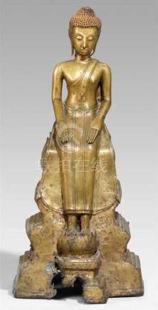 Buddha in europäischer Sitzhaltung. Messingbronze. Thailand, im Ayutthaya-Stil. 19. Jh. oder