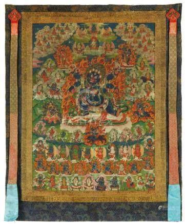 Thangka des sechsarmigen Mahakala. Tibet. 18./19. Jh.Der furchterregende Hüter der Weißheit steht im