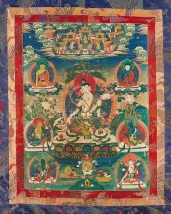Thangka des Simhanada Avalokiteshvara. Tibet. Frühes 20. Jh.Rittlings auf einem Schneelöwen sitzend,