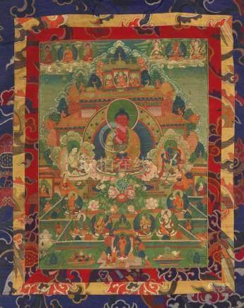 Thangka des Amitabha-Paradieses. Tibet. Frühes 20. Jh.Amitabha thront vor dem Golddachtempel des
