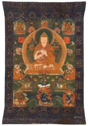Thangka des Tsongkhapa. Sinotibetisch. 18./19. Jh.Tsongkhapa sitzt auf einem Löwenthron, die Hände