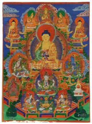 Thangka des Amitabha-Paradieses. Frühes 20. Jh.Der Buddha des ewigen Lichtes thront in seinem