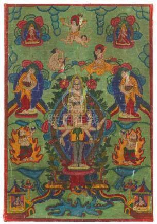 Thangka des Ekadashamukha-Avalokiteshvara. Tibet. 19./frühes 20. Jh.Der gütig herabschauende Herr