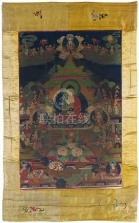 Thangka des Buddha Amitabha in seinem Paradies. Tibet. Spätes 19./frühes 20. Jh.Amitabha, das
