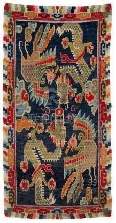 Teppich (khaden). Wolle, geknüpft. Tibet. Frühes 20. Jh.Im Mittelfeld ein jewels übereinander und