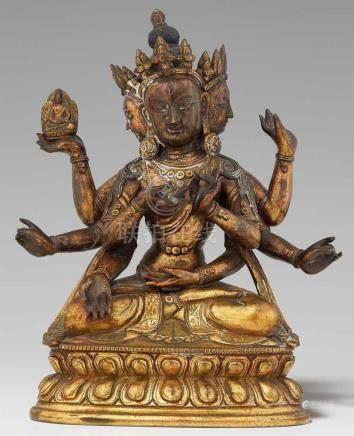 Ushnishavijaya. Feuervergoldete Bronze. Sinotibetisch. 18. Jh.Ushnishavijaya, die Verkörperung der