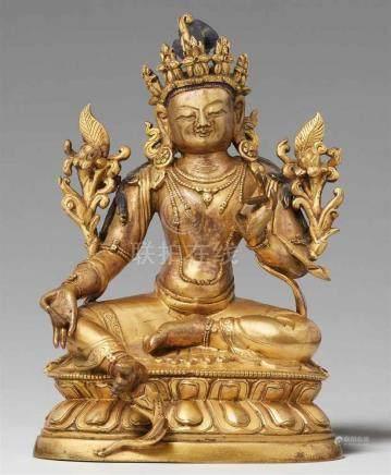 Grüne Tara. Feuervergoldete Bronze. Sinotibetisch. 18./19. Jh.Die Schutzgöttin sitzt in lalitasana