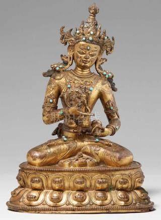 Prächtige Figur des Vajrasattva. Feuervergoldete Bronze. Tibet. 17. Jh.Das Diamantwesen, tib.