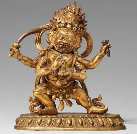 Ausdrucksstarke Figur des Chaturmukha Mahakala. Feuervergoldete Bronze. Sinotibetsch. 18./19. Jh.Der