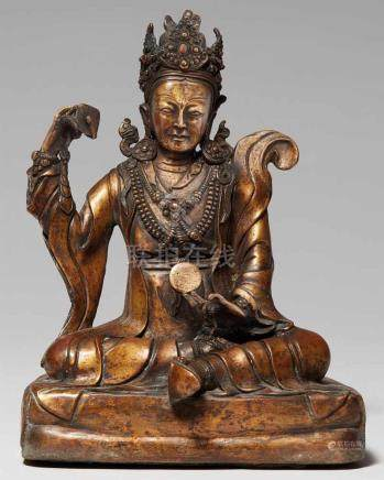 Padmasambhava / Guru Loden Chogse. Kupferbronze. Tibet oder Nepal. 18./19. Jh.Guru Loden Chogse,