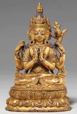 Shadakshari Avalokiteshvara. Feuervergoldete Bronze. Tibet. 17./18. Jh.Der königlich geschmückte,