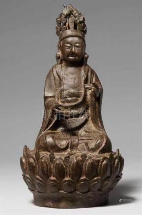 Bodhisattva Guanyin. Bronze. Ming-ZeitIm Meditationssitz auf einem großen Lotos, die beiden
