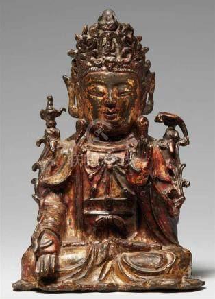 Bodhisattva Guanyin. Bronze mit vergoldeter Lackfassung. Ming-Zeit, 17. Jh.Im Meditationssitz, die