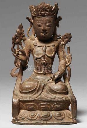 Bodhisattva Guanyin. Bronze. Ming-ZeitIm Meditationssitz auf einem doppelten Lotos, beide Hände in