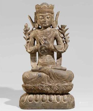Steinfigur eines Bodhisattva GuanyinIm Meditationssitz auf einem doppelten Lotossockel, die Hände in