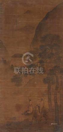 Yang JinLaozi auf seinem Ochsen im Stil des Wang Hui. Tusche und Farben auf Seide. Aufschrift,