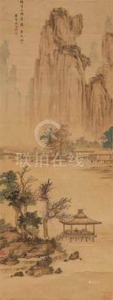 Chen Gao . Späte Qing-ZeitBergige Flusslandschaft. Hängerolle. Tusche und Farben auf Seide.