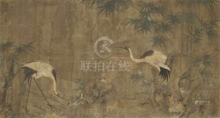 Zou YiguiKraniche, Bambus und lingzhi-Pilze an Felsen. Ausschnitt aus einer Querrolle. Tusche und