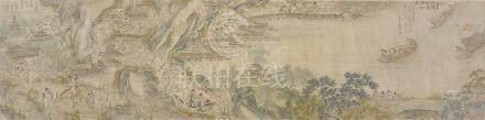 Zhujie. Qing-ZeitBoote und Figuren vor einer Tempelanlage. Querrolle. Tusche und Farben auf Seide.