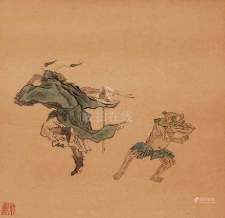 Yong Lang . Qing-ZeitSechs Albumblätter mit Szenen der Geschichte des Zhong Kui mit Dämonen und
