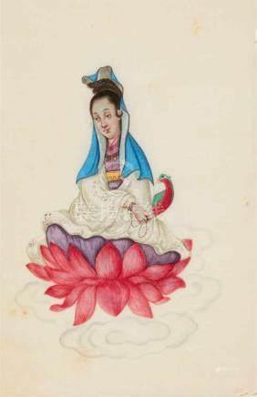 Anonymer Maler . Kanton. 19. Jh.Album mit zwölf feinen Darstellungen von Guanyin, Zhong Kui, Guan Yu