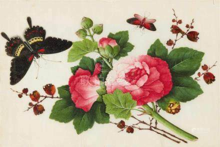 Youqua-Studio . Kanton. 19. Jh.Album mit zwölf botanischen Malereien mit Darstellungen von Blumen