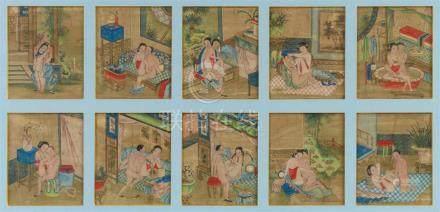 Anonymer Maler . 19. Jh.Zehn Albumblätter mit erotischen Darstellungen. Tusche und Farben auf Seide.
