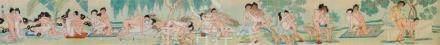 Tang Yin. 19. Jh.Zwölf erotische Darstellungen. Querrolle. Tusche und Farben auf Papier. Sign.: Tang