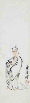 Qi Baishi, in der ArtGuanyin in weißer Robe. Hängerolle. Tusche und wenig Farbe auf Papier.
